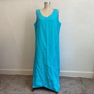 Pure Jill Blue Linen Asymmetrical Sleeveless Dress